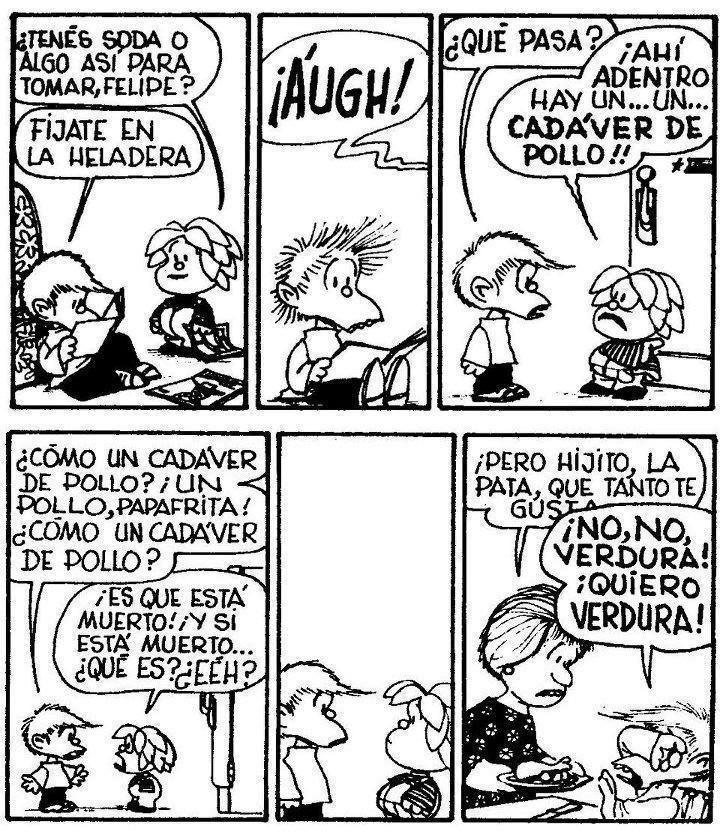 Mafalda y amigos Felipe y Guille cadaver de pollo
